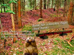 Das Eichhörnchen und seine Bank